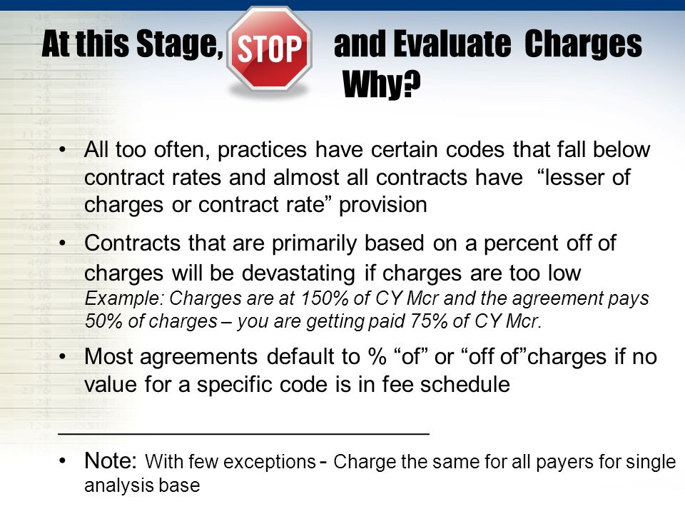 At this Stage, Stop and Evaluate Charges Why.