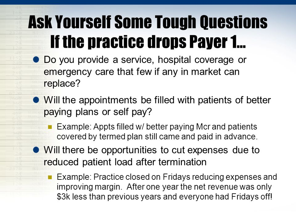 Ask Yourself Some Tough Questions If the practice drops Payer 1… Do you provide a service, hospital coverage or emergency care that few if any in market can replace.