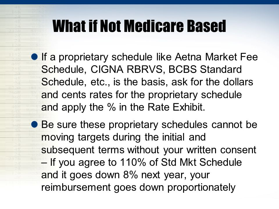 What if Not Medicare Based If a proprietary schedule like Aetna Market Fee Schedule, CIGNA RBRVS, BCBS Standard Schedule, etc., is the basis, ask for the dollars and cents rates for the proprietary schedule and apply the % in the Rate Exhibit.