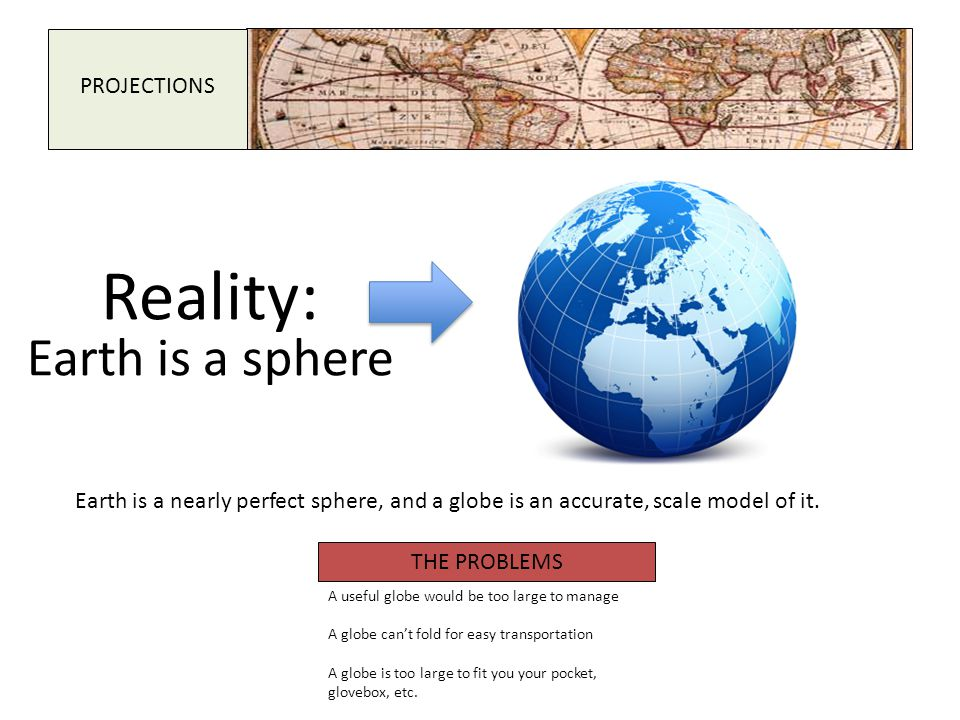 PROJECTIONS Reality: Earth is a sphere Earth is a nearly perfect sphere, and a globe is an accurate, scale model of it. THE PROBLEMS A useful globe wo