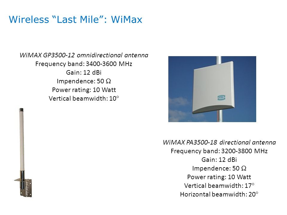 WiMAX GP3500-12 omnidirectional antenna Frequency band: 3400-3600 MHz Gain: 12 dBi Impendence: 50  Power rating: 10 Watt Vertical beamwidth: 10  WiM
