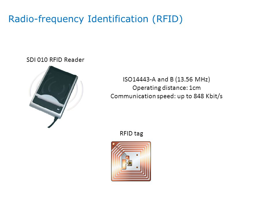 RFID tag SDI 010 RFID Reader ISO14443-A and B (13.56 MHz) Operating distance: 1cm Communication speed: up to 848 Kbit/s Radio-frequency Identification
