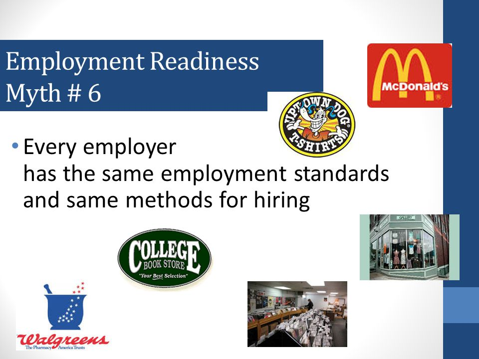 Employment Readiness Myth # 5 You need to know how to conduct a job search to be ready for employment 80% of jobs are found through networking with family and friends