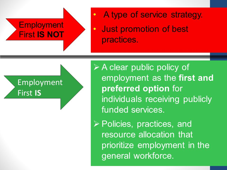 Employment First IS NOT Employment First IS  A clear public policy of employment as the first and preferred option for individuals receiving publicly funded services.