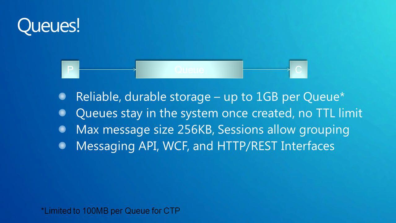 Queue P P C C *Limited to 100MB per Queue for CTP