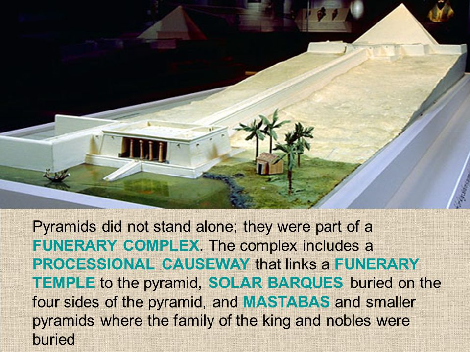 Pyramids did not stand alone; they were part of a FUNERARY COMPLEX.