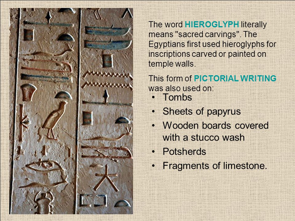 The word HIEROGLYPH literally means sacred carvings .