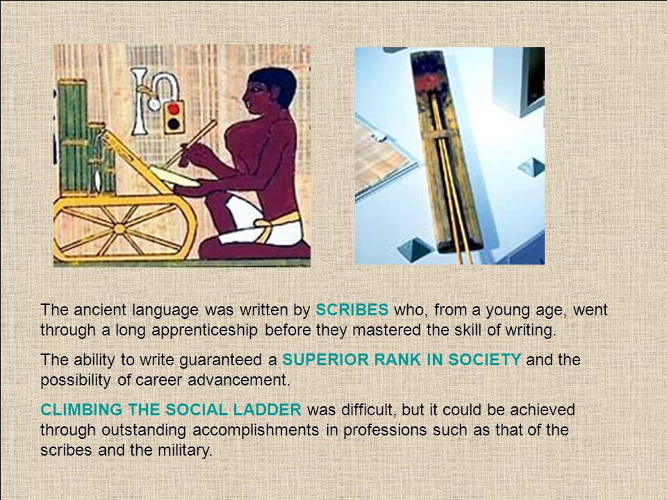 The ancient language was written by SCRIBES who, from a young age, went through a long apprenticeship before they mastered the skill of writing. The a