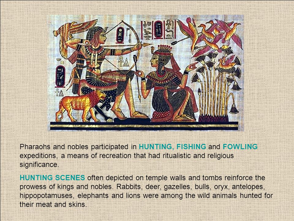 Pharaohs and nobles participated in HUNTING, FISHING and FOWLING expeditions, a means of recreation that had ritualistic and religious significance. H