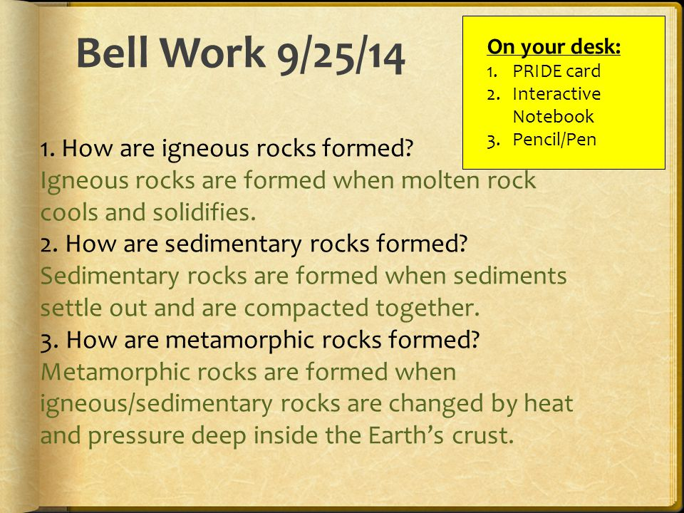 Bell Work 9/25/14 On your desk: 1.PRIDE card 2.Interactive Notebook 3.Pencil/Pen 1.