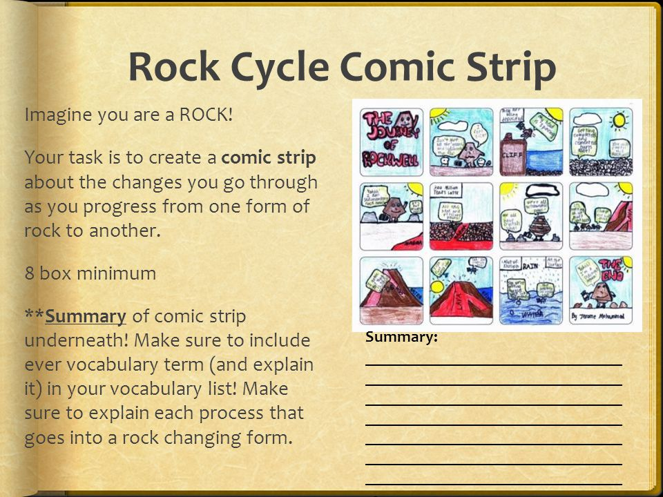 Rock Cycle Comic Strip Imagine you are a ROCK.