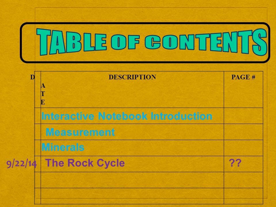 DATEDATE DESCRIPTIONPAGE # Interactive Notebook Introduction Measurement Minerals The Rock Cycle .