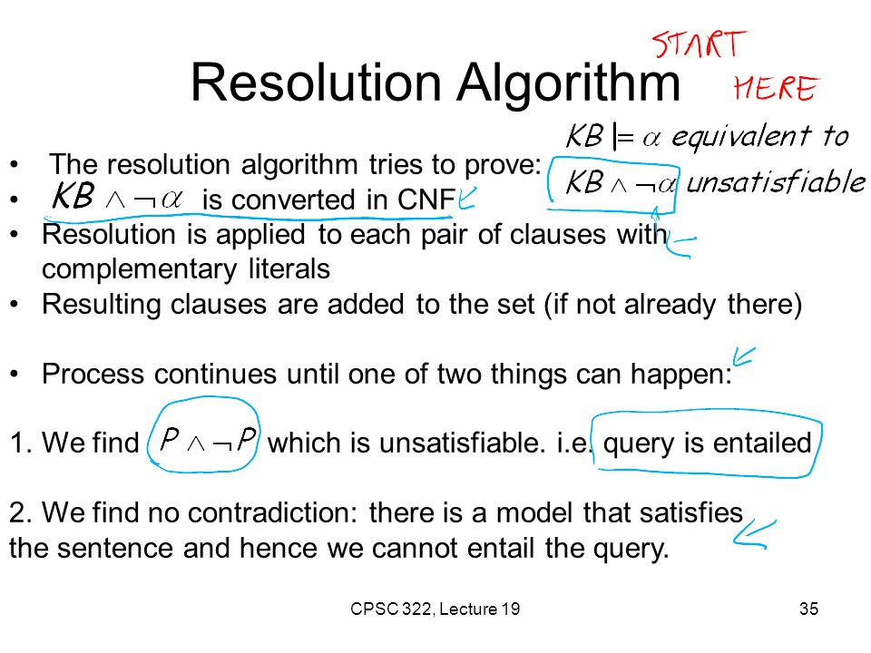 Resolution example KB = (A  (B  C))  A α =  B False in all worlds True! CPSC 322, Lecture 19