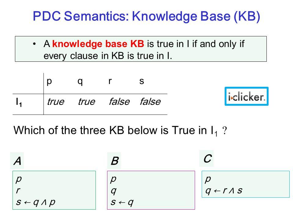 PDC Semantics: Knowledge Base (KB) pqrs I1I1 true false p r s ← q ∧ p p q s ← q p q ← r ∧ s KB 1 KB 2 KB 3 Which of the three KB above is True in I 1 ?KB 3 A knowledge base KB is true in I if and only if every clause in KB is true in I.