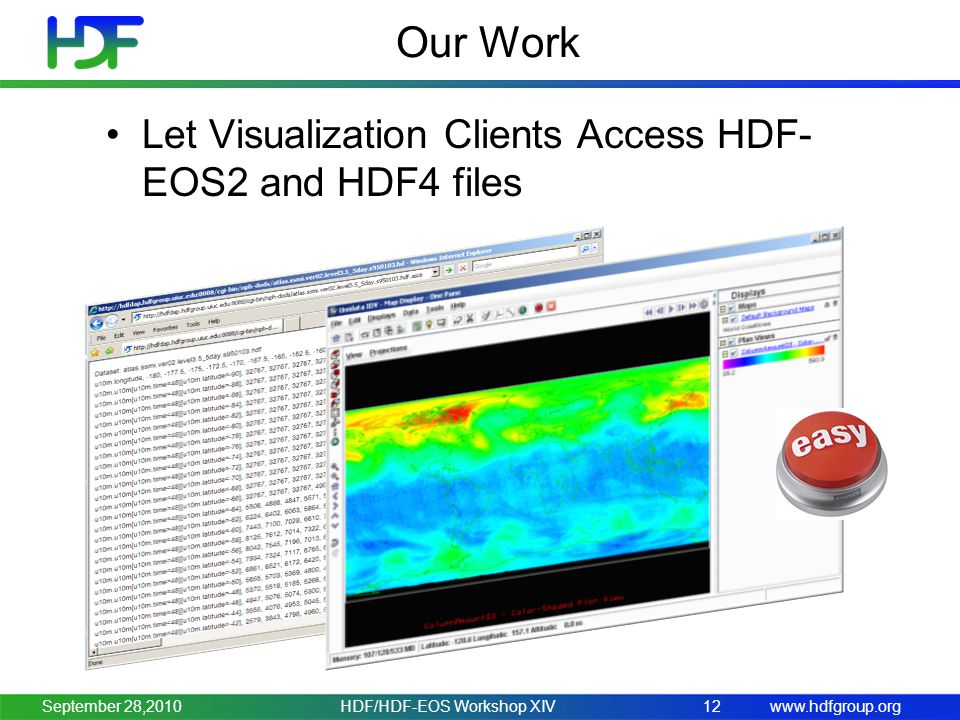 www.hdfgroup.org Our Work Let Visualization Clients Access HDF- EOS2 and HDF4 files HDF/HDF-EOS Workshop XIV12September 28,2010
