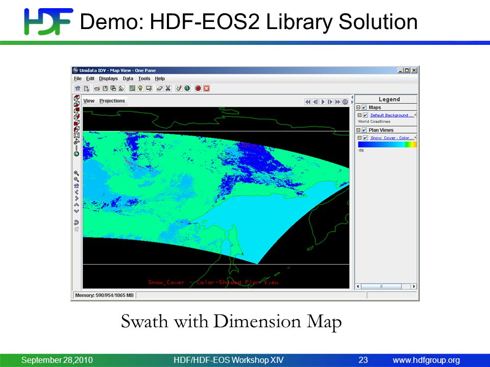 www.hdfgroup.org Demo: HDF-EOS2 Library Solution HDF/HDF-EOS Workshop XIV23 Swath with Dimension Map September 28,2010