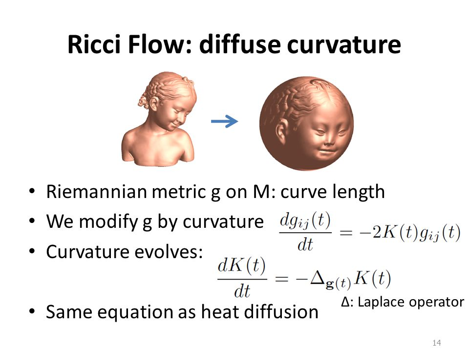 Ricci Flow: diffuse curvature Riemannian metric g on M: curve length We modify g by curvature Curvature evolves: Same equation as heat diffusion 14 Δ: Laplace operator