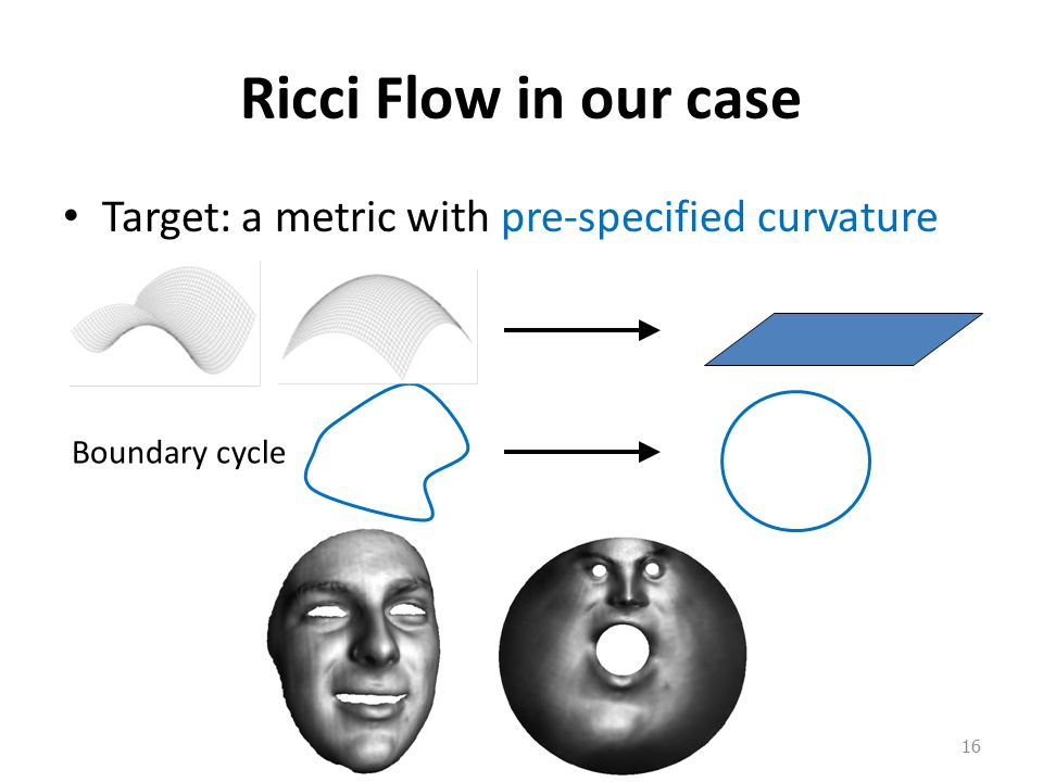 Ricci Flow in our case Target: a metric with pre-specified curvature 16 Boundary cycle