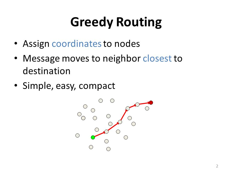 Greedy Routing Assign coordinates to nodes Message moves to neighbor closest to destination Simple, easy, compact 2