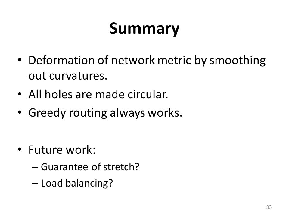 Summary Deformation of network metric by smoothing out curvatures.