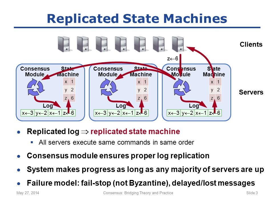 ● Replicated log  replicated state machine  All servers execute same commands in same order ● Consensus module ensures proper log replication ● Syst