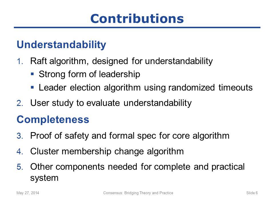 Understandability 1. Raft algorithm, designed for understandability  Strong form of leadership  Leader election algorithm using randomized timeouts
