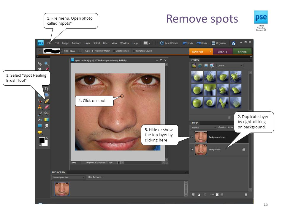 Remove spots 16 2. Duplicate layer by right-clicking on background.