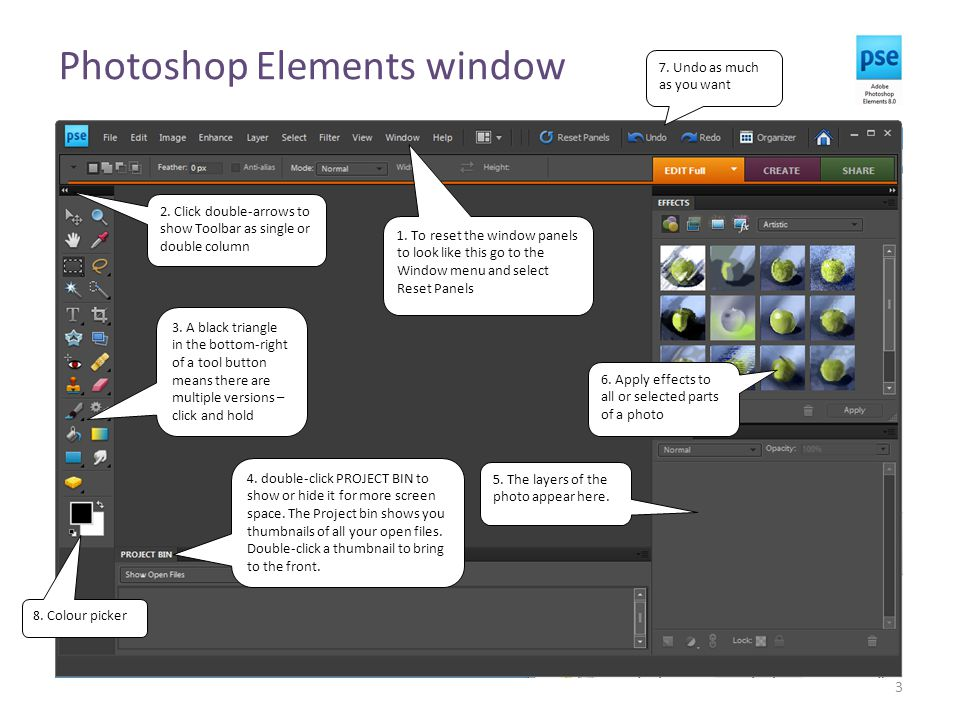 Photoshop Elements window 3 1. To reset the window panels to look like this go to the Window menu and select Reset Panels 4. double-click PROJECT BIN
