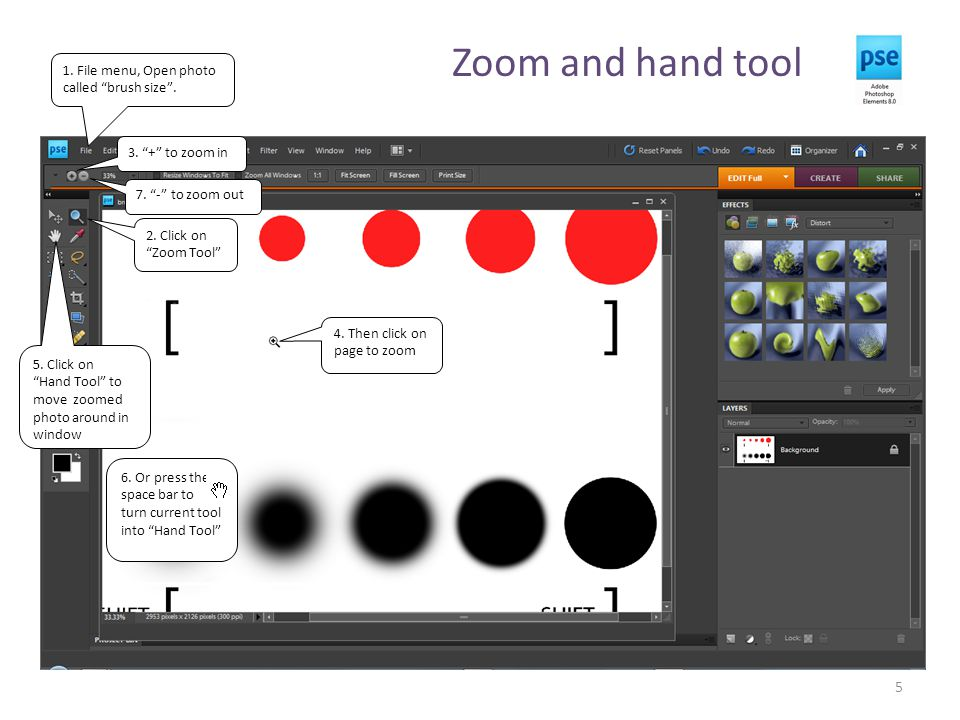 Zoom and hand tool 5 1. File menu, Open photo called brush size .