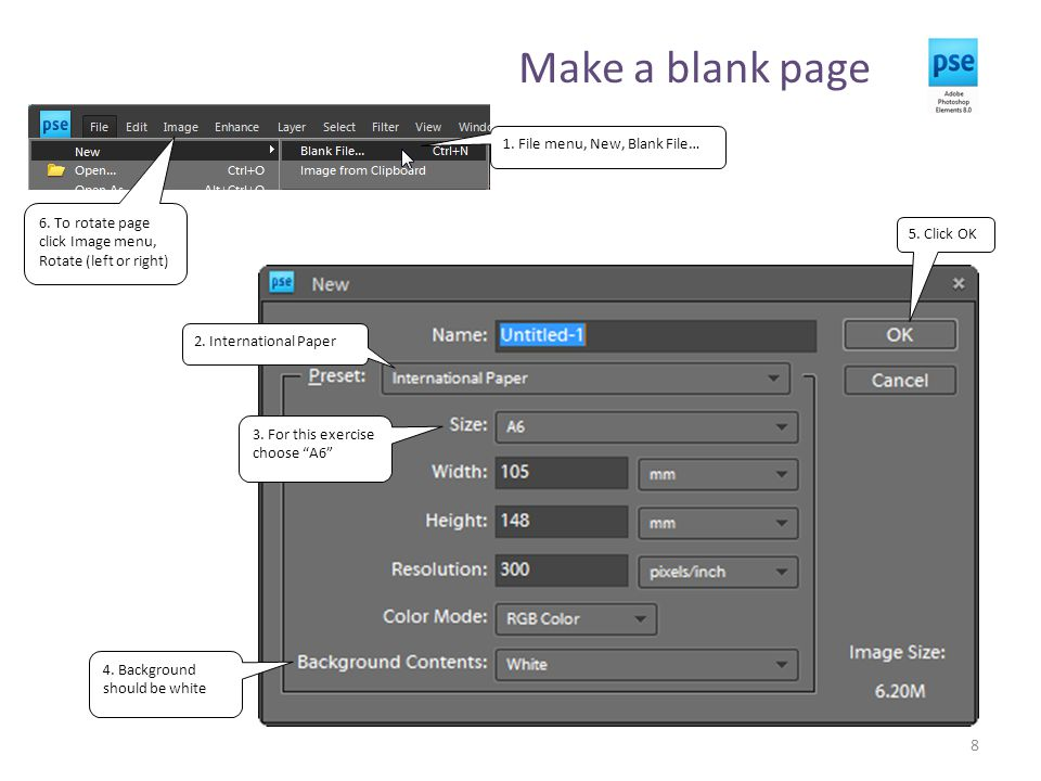 Make a blank page 8 1. File menu, New, Blank File… 2.