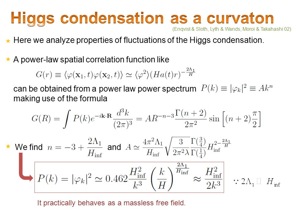 Here we analyze properties of fluctuations of the Higgs condensation.