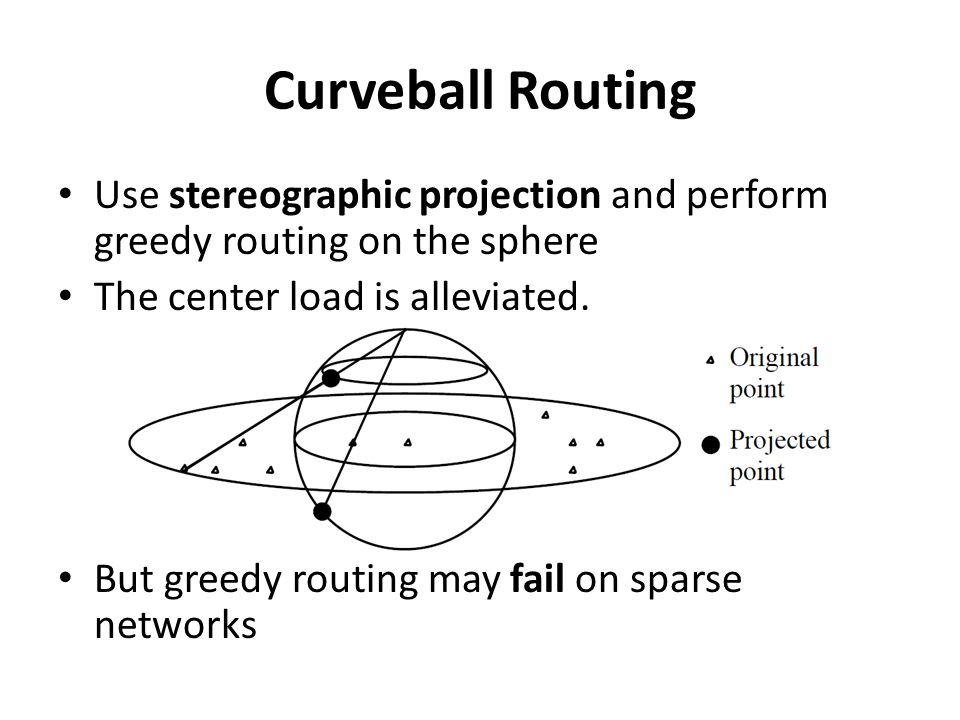 Curveball Routing Use stereographic projection and perform greedy routing on the sphere The center load is alleviated.