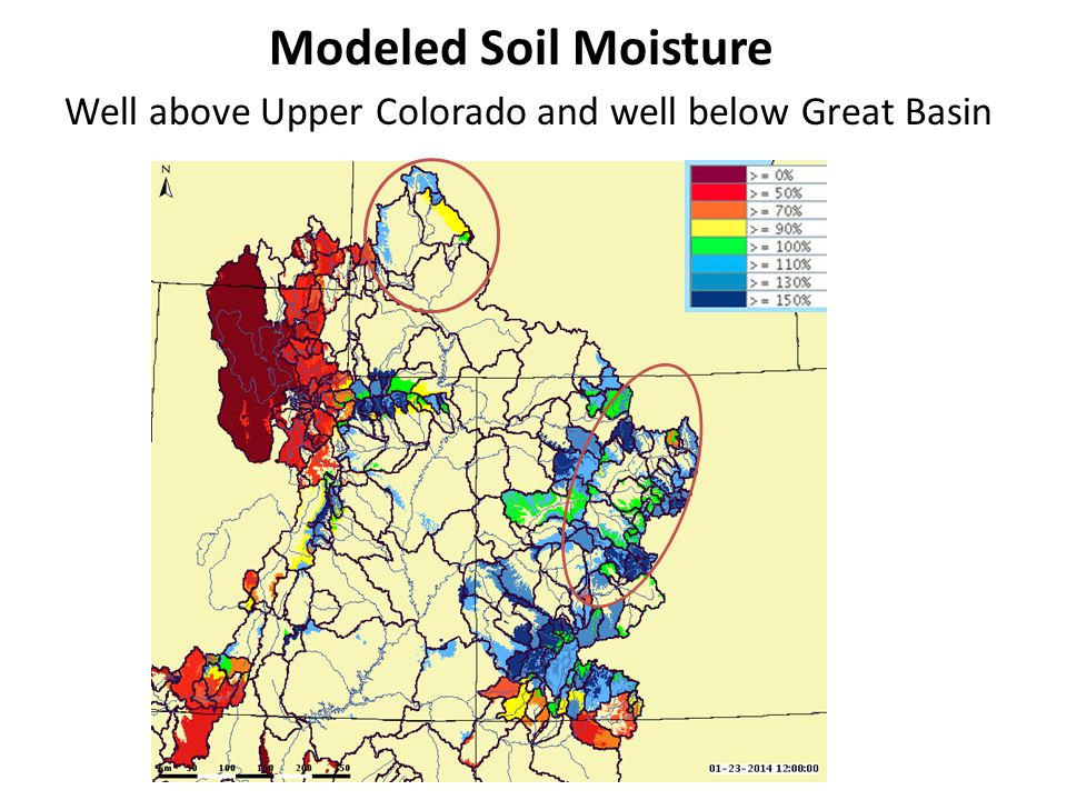 Well above Upper Colorado and well below Great Basin Modeled Soil Moisture