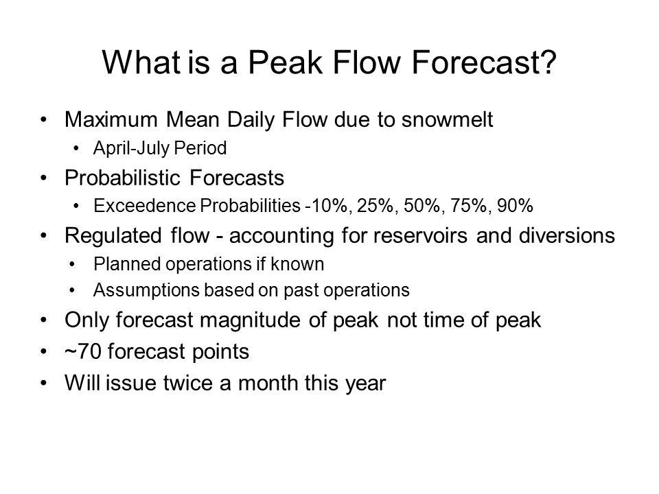 Weber River - Oakley Forecast:1300 CFS Average:1650 CFS Flood:2500 CFS Last Year: 770 CFS 50% Exceedance Forecast