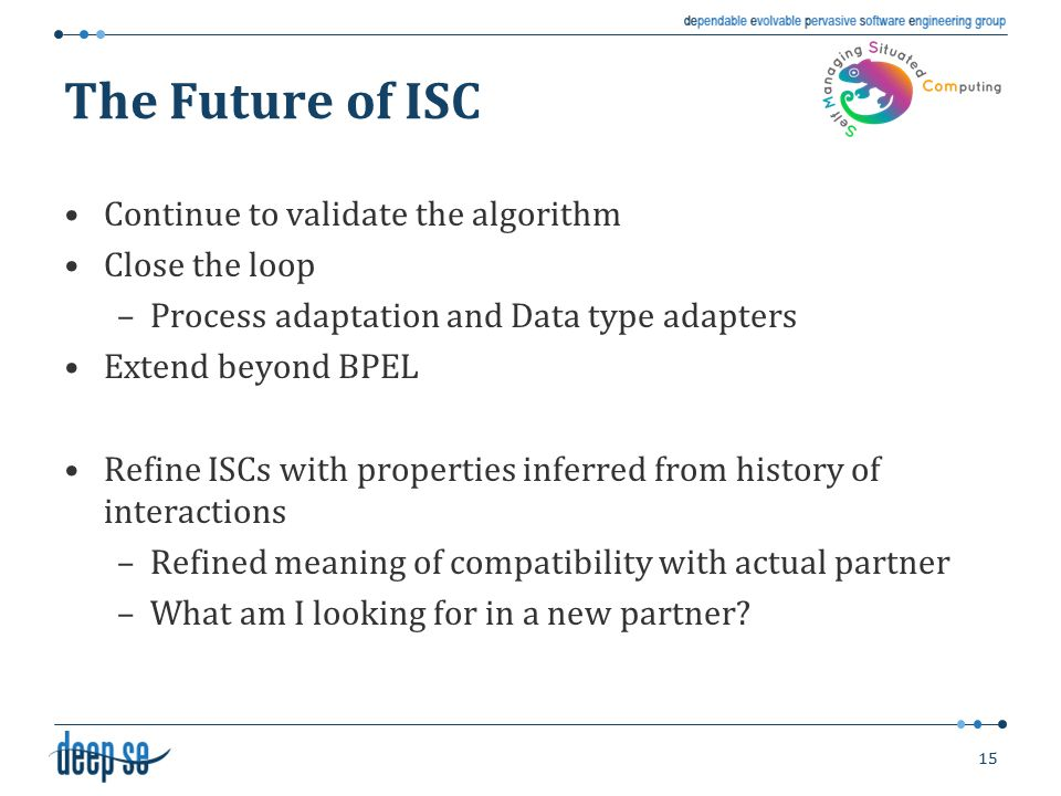 The Future of ISC Continue to validate the algorithm Close the loop –Process adaptation and Data type adapters Extend beyond BPEL Refine ISCs with pro