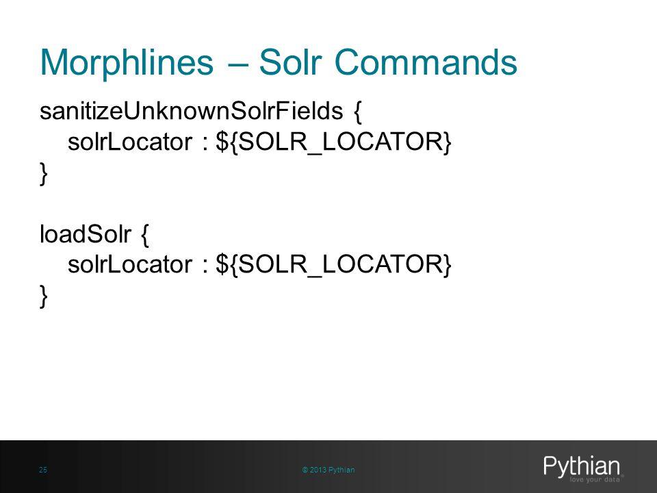 Morphlines – Solr Commands sanitizeUnknownSolrFields { solrLocator : ${SOLR_LOCATOR} } loadSolr { solrLocator : ${SOLR_LOCATOR} } © 2013 Pythian25