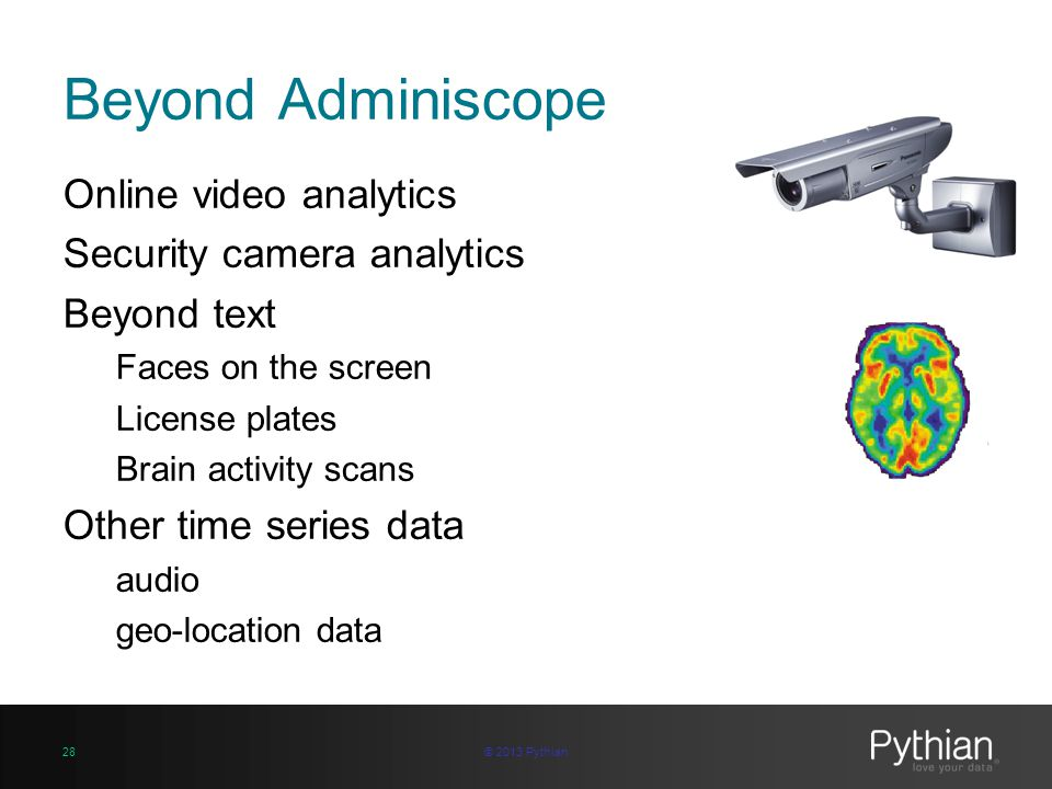 Beyond Adminiscope Online video analytics Security camera analytics Beyond text Faces on the screen License plates Brain activity scans Other time ser