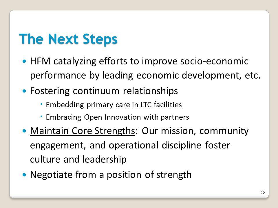 The Next Steps HFM catalyzing efforts to improve socio-economic performance by leading economic development, etc.