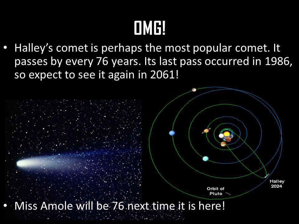 OMG. Halley's comet is perhaps the most popular comet.