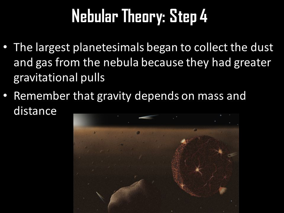 Nebular Theory: Step 4 The largest planetesimals began to collect the dust and gas from the nebula because they had greater gravitational pulls Remember that gravity depends on mass and distance
