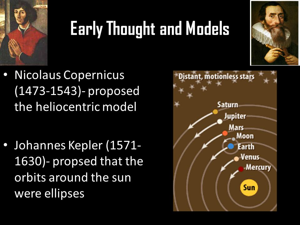 Early Thought and Models Nicolaus Copernicus (1473-1543)- proposed the heliocentric model Johannes Kepler (1571- 1630)- propsed that the orbits around the sun were ellipses
