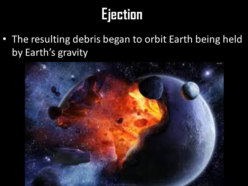 Ejection The resulting debris began to orbit Earth being held by Earth's gravity