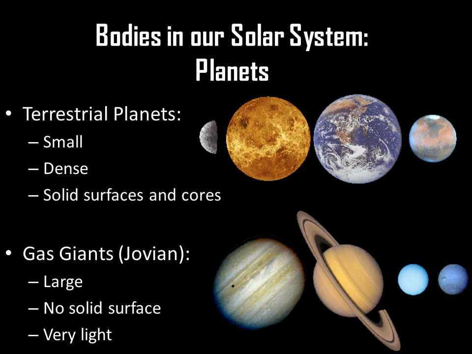 Bodies in our Solar System: Planets Terrestrial Planets: – Small – Dense – Solid surfaces and cores Gas Giants (Jovian): – Large – No solid surface – Very light