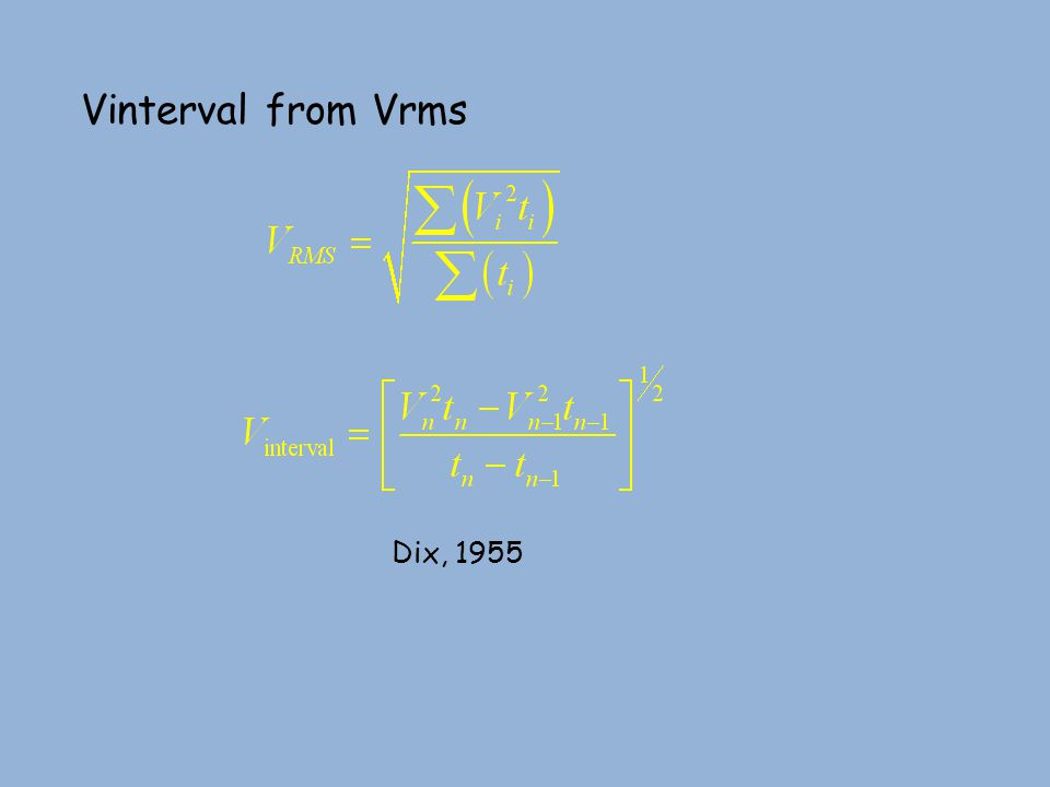 Vinterval from Vrms Dix, 1955