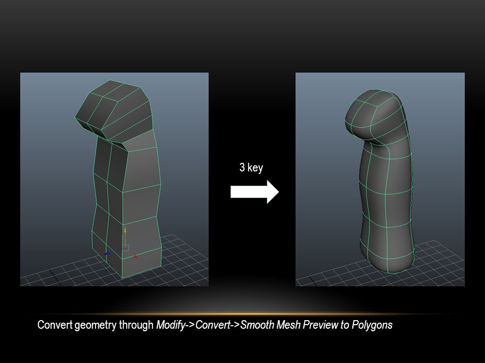 3 key Convert geometry through Modify -> Convert -> Smooth Mesh Preview to Polygons