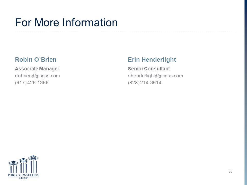 For More Information Robin O'Brien Associate Manager rfobrien@pcgus.com (617) 426-1366 Erin Henderlight Senior Consultant ehenderlight@pcgus.com (828) 214-3614 28 Overcoming Trauma