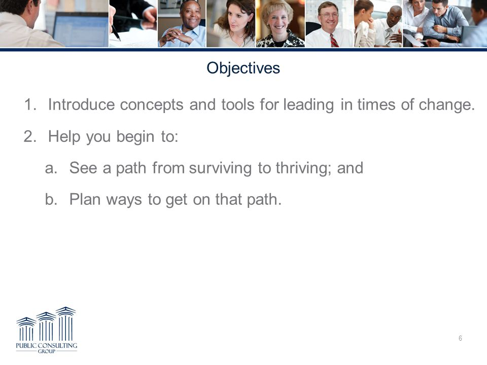 Objectives 1.Introduce concepts and tools for leading in times of change.