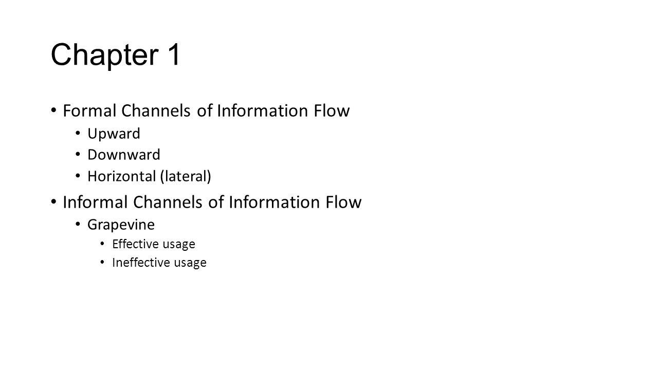 Chapter 1 Formal Channels of Information Flow Upward Downward Horizontal (lateral) Informal Channels of Information Flow Grapevine Effective usage Ine