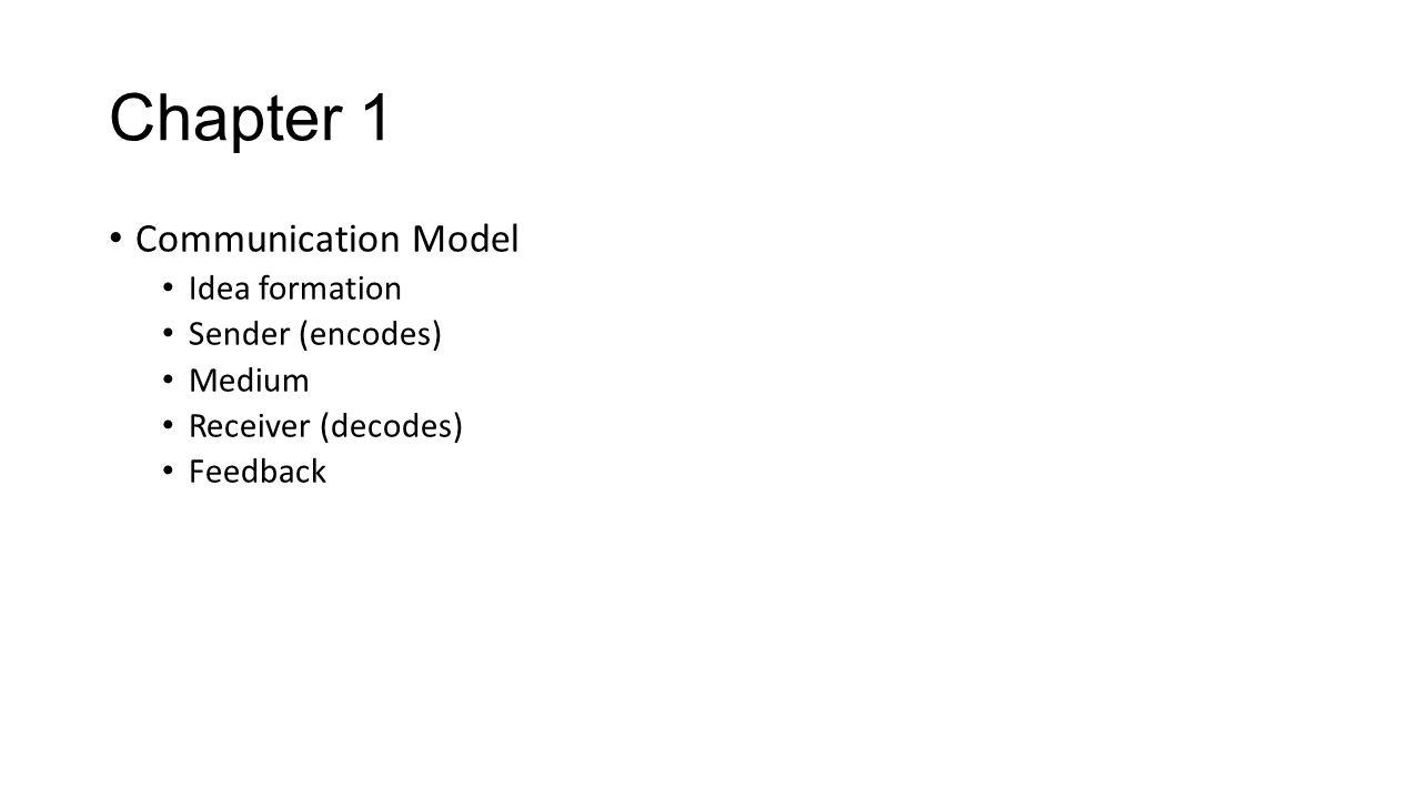 Chapter 1 Communication Model Idea formation Sender (encodes) Medium Receiver (decodes) Feedback
