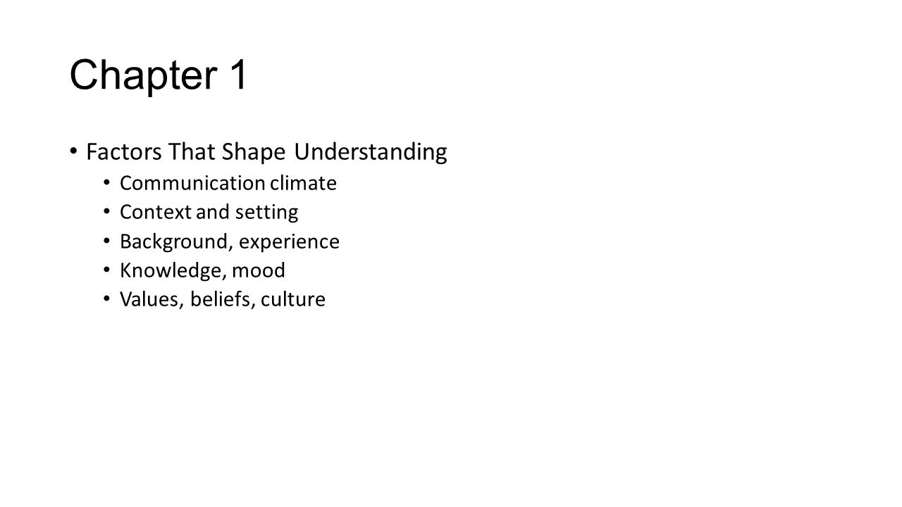 Chapter 1 Factors That Shape Understanding Communication climate Context and setting Background, experience Knowledge, mood Values, beliefs, culture